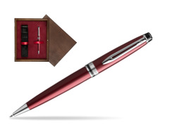 Waterman Ballpoint Pen Expert Dark Red CT in single wooden box  Wenge Single Maroon