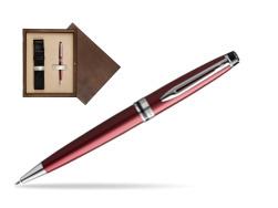 Waterman Ballpoint Pen Expert Dark Red CT in single wooden box  Wenge Single Ecru