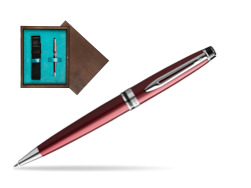 Waterman Ballpoint Pen Expert Dark Red CT in single wooden box  Wenge Single Turquoise