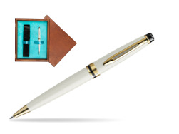 Waterman Ballpoint Pen Expert Ivory GT in single wooden box  Mahogany Single Turquoise