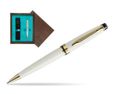 Waterman Ballpoint Pen Expert Ivory GT in single wooden box  Wenge Single Turquoise