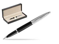 Waterman Fountain Pen Carene Leather Black CT  in classic box  pure black