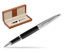 Waterman Rollerball Pen Carene Leather Black CT  in classic box brown
