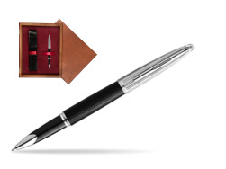 Waterman Rollerball Pen Carene Leather Black CT in single wooden box Mahogany Single Maroon