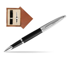 Waterman Rollerball Pen Carene Leather Black CT in single wooden box  Mahogany Single Ecru