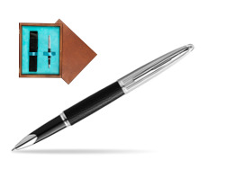 Waterman Rollerball Pen Carene Leather Black CT in single wooden box  Mahogany Single Turquoise