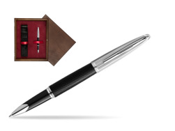 Waterman Rollerball Pen Carene Leather Black CT in single wooden box  Wenge Single Maroon