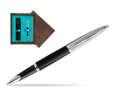 Waterman Rollerball Pen Carene Leather Black CT in single wooden box  Wenge Single Turquoise