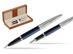 Waterman Carene Leather Navy Blue CT Fountain pen + Waterman Carene Leather  Navy Blue CT Rollerball Pen in gift box  in classic box brown