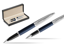 Waterman Carene Leather Navy Blue CT Fountain pen + Waterman Carene Leather  Navy Blue CT Rollerball Pen in gift box  in classic box  pure black