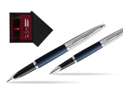 Waterman Carene Leather Navy Blue CT Fountain pen + Waterman Carene Leather  Navy Blue CT Rollerball Pen in gift box  double wooden box Black Double Maroon