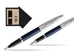 Waterman Carene Leather Navy Blue CT Fountain pen + Waterman Carene Leather  Navy Blue CT Rollerball Pen in gift box  double wooden box Black Double Ecru