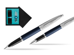 Waterman Carene Leather Navy Blue CT Fountain pen + Waterman Carene Leather  Navy Blue CT Rollerball Pen in gift box  double wooden box Black Double Turquoise