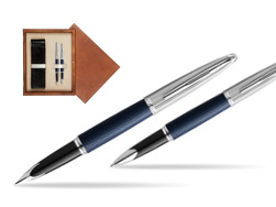 Waterman Carene Leather Navy Blue CT Fountain pen + Waterman Carene Leather  Navy Blue CT Rollerball Pen in gift box in double wooden box Mahogany Double Ecru
