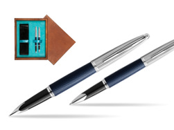 Waterman Carene Leather Navy Blue CT Fountain pen + Waterman Carene Leather  Navy Blue CT Rollerball Pen in gift box in double wooden box Mahogany Double Turquoise