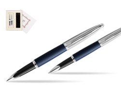"Waterman Carene Leather Navy Blue CT Fountain pen + Waterman Carene Leather  Navy Blue CT Rollerball Pen in gift box in Gift Box ""Pure Love"""
