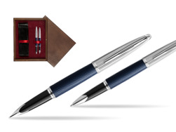 Waterman Carene Leather Navy Blue CT Fountain pen + Waterman Carene Leather  Navy Blue CT Rollerball Pen in gift box in double wooden box Wenge Double Maroon