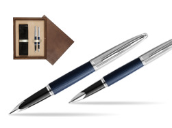 Waterman Carene Leather Navy Blue CT Fountain pen + Waterman Carene Leather  Navy Blue CT Rollerball Pen in gift box in double wooden box Wenge Double Ecru