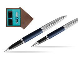 Waterman Carene Leather Navy Blue CT Fountain pen + Waterman Carene Leather  Navy Blue CT Rollerball Pen in gift box in double wooden box Wenge Double Turquoise