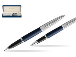 Waterman Carene Leather Navy Blue CT Fountain pen + Waterman Carene Leather  Navy Blue CT Rollerball Pen in gift box