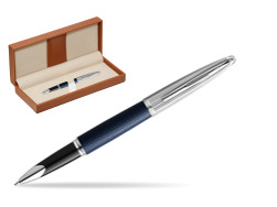 Waterman Rollerball Pen Carene Leather Navy Blue CT  in classic box brown