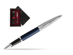 Waterman Rollerball Pen Carene Leather Navy Blue CT  single wooden box  Black Single Maroon