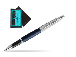 Waterman Rollerball Pen Carene Leather Navy Blue CT  single wooden box  Black Single Turquoise
