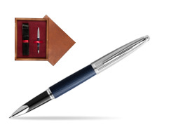 Waterman Rollerball Pen Carene Leather Navy Blue CT in single wooden box Mahogany Single Maroon