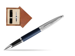 Waterman Rollerball Pen Carene Leather Navy Blue CT in single wooden box  Mahogany Single Ecru
