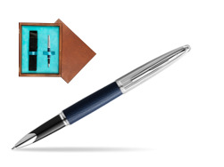 Waterman Rollerball Pen Carene Leather Navy Blue CT in single wooden box  Mahogany Single Turquoise