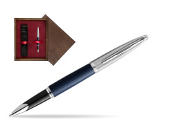Waterman Rollerball Pen Carene Leather Navy Blue CT in single wooden box  Wenge Single Maroon
