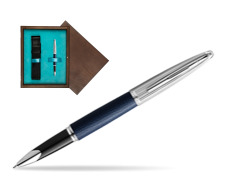 Waterman Rollerball Pen Carene Leather Navy Blue CT in single wooden box  Wenge Single Turquoise
