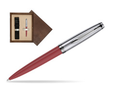 Waterman Ballpoint Pen Embleme Red CT in single wooden box  Wenge Single Ecru