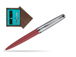 Waterman Ballpoint Pen Embleme Red CT in single wooden box  Wenge Single Turquoise