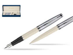 Waterman Embleme Ecru CT Fountain Pen + Waterman Embleme Ecru CT Ballpoint Pen in gift box