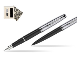Waterman Embleme Black CT Fountain Pen + Waterman Embleme Black CT Ballpoint Pen in gift box in Standard Gift Box