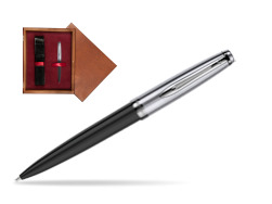 Waterman Ballpoint Pen Embleme Black CT in single wooden box Mahogany Single Maroon
