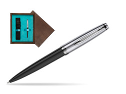 Waterman Ballpoint Pen Embleme Black CT in single wooden box  Wenge Single Turquoise