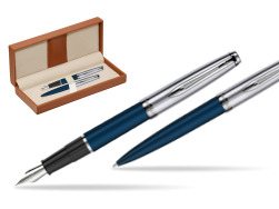Waterman Embleme Navy Blue CT Fountain Pen + Waterman Embleme Navy Blue CT Ballpoint Pen in gift box  in classic box brown