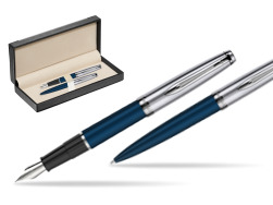 Waterman Embleme Navy Blue CT Fountain Pen + Waterman Embleme Navy Blue CT Ballpoint Pen in gift box  in classic box  black