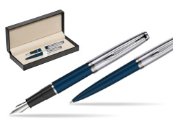 Waterman Embleme Navy Blue CT Fountain Pen + Waterman Embleme Navy Blue CT Ballpoint Pen in gift box  in classic box  pure black