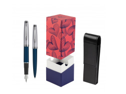 Waterman Embleme Navy Blue CT Fountain Pen + Waterman Embleme Navy Blue CT Ballpoint Pen in gift box in gift box  StandUP Hot Hearts