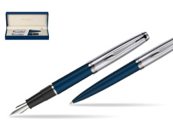 Waterman Embleme Navy Blue CT Fountain Pen + Waterman Embleme Navy Blue CT Ballpoint Pen in gift box