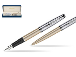 Waterman Embleme Metallic Glod CT Fountain Pen + Waterman Embleme Metallic Gold CT Ballpoint Pen in gift box