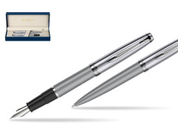 Waterman Embleme Metallic Gray CT Fountain Pen + Waterman Embleme Metallic Gray CT Ballpoint Pen in gift box