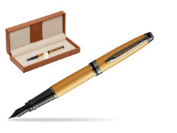 Waterman Expert Metalic Gold Fountain Pen  in classic box brown