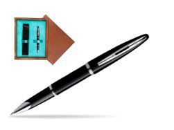 Waterman Carène Black Sea ST Rollerball pen in single wooden box  Mahogany Single Turquoise