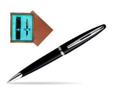Waterman Carène Black Sea ST Ballpoint pen in single wooden box  Mahogany Single Turquoise