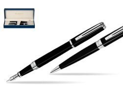 Waterman Exception Slim Black ST Fountain pen + Waterman Exception Slim Black ST Ballpoint Pen