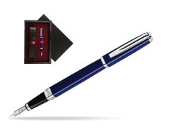 Waterman Exception Slim Blue CT Fountain pen  single wooden box  Black Single Maroon